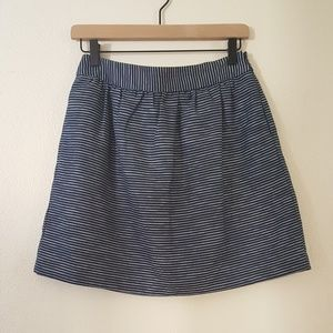 Anthropologie | Blue Striped Mini Pleated Skirt